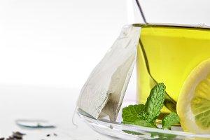 Green tea, mint,lemon teabag closeup