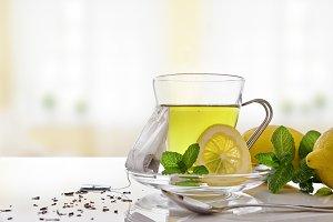 Green tea, mint,lemon in living room