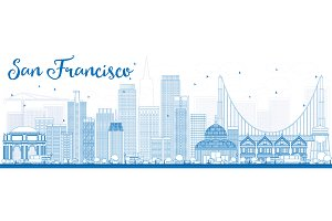 Outline San Francisco Skyline