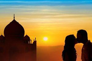 Loving couple honeymoon in India
