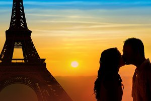 Loving couple honeymoon in Paris