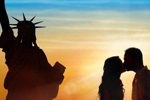 Loving couple honeymoon in NY
