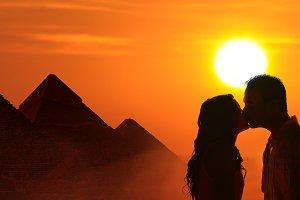 Loving couple honeymoon in Egypt