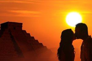 Couple honeymoon in Mayan culture
