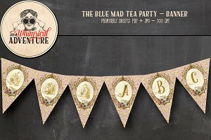 Mad Tea Party Banner - Pink