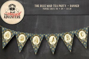 Mad Tea Party Banner - Blue