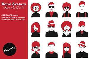 Boys & Girls Retro Avatars