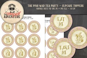 Mad Tea Party Cupcake Toppers - Pink