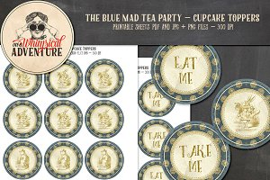 Mad Tea Party Cupcake Toppers - Blue