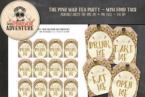 Mad Tea Party Mini Food Tags - Pink