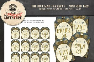 Mad Tea Party Mini Food Tags - Blue