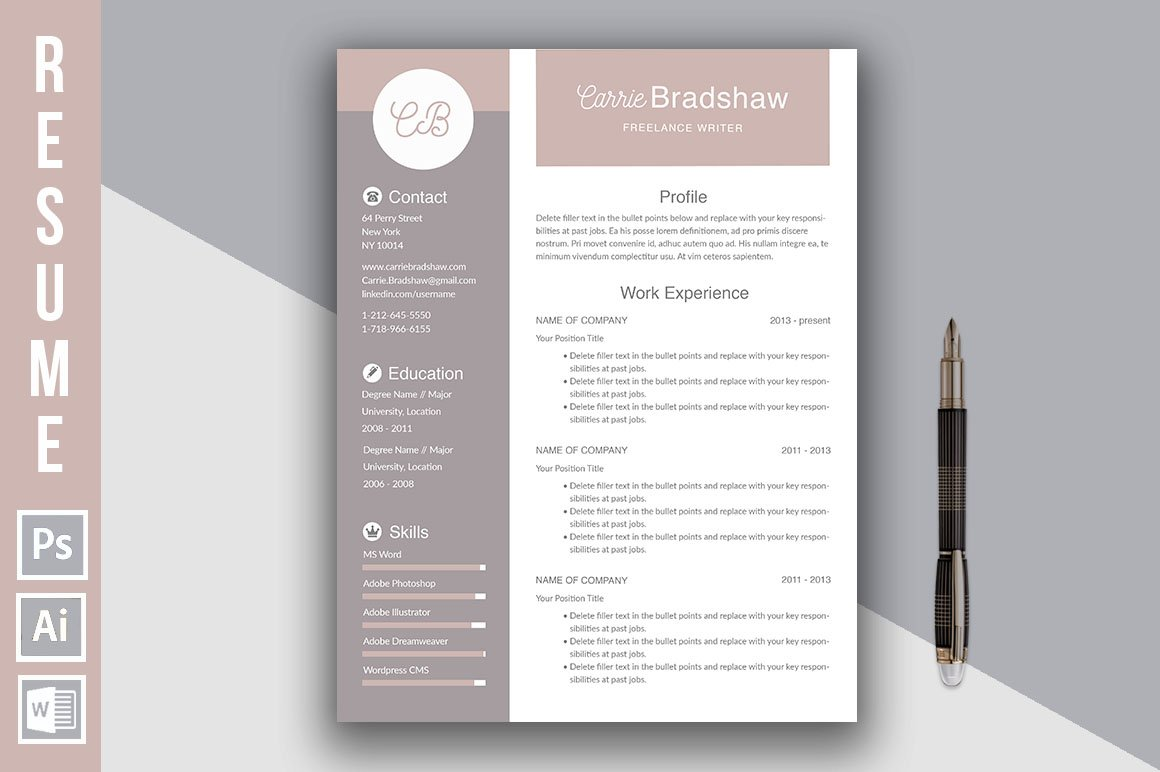 """Resume Template """"Carrie Bradshaw"""""""