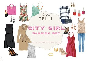 City Girl Fashion Set (Clip Art)