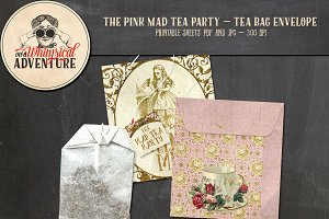 Mad Tea Party Tea Bag Envelope Pink