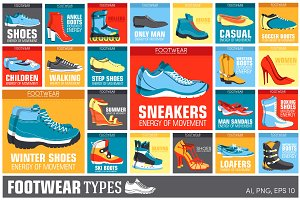 collection set of shoe wear - Vector