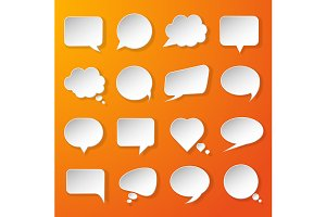 Modern paper speech bubbles set