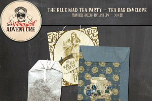 Mad Tea Party Tea Bag Envelope Blue