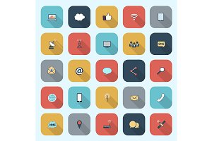 Simple communication icons set
