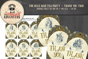 Mad Tea Party Thank You Tags Blue