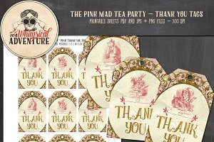 Mad Tea Party Thank You Tags Pink
