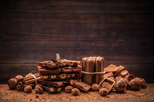 Still life with set of chocolate
