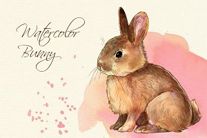 Watercolor style bunny clip art