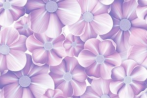 Tender flowers seamless pattern