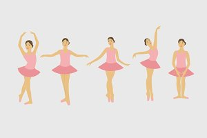 Young ballerina dancing set-vector.