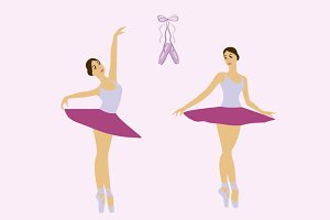 Girl ballet dancer vector set