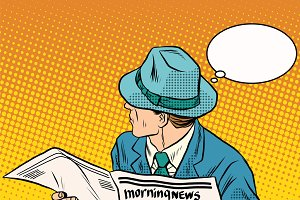 Retro man reading the morning news