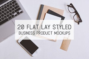 20 Flat lay styled desk mockups