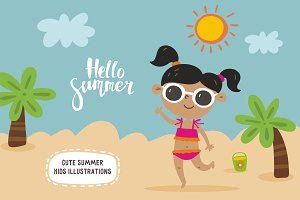 Cute summer kids illustrations