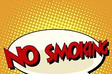 no smoking comic book bubble text