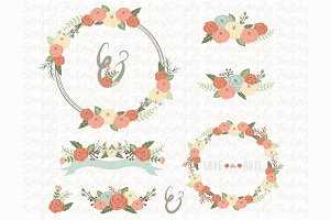 Vintage Floral Wreath Elements