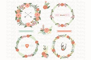 Floral Wedding Wreath Set