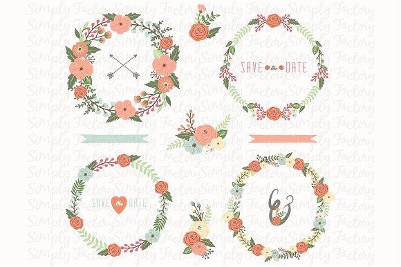 Floral Wedding Wreath Set