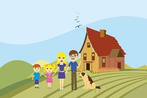Happy family with dog illustration