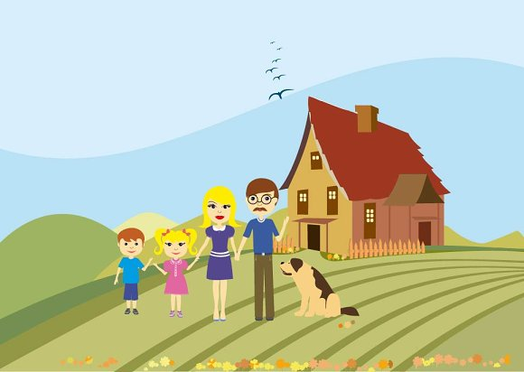 Happy family with dog illustration