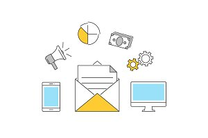 Email marketing outline icons flat