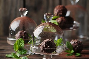 Chocolate sweets with nuts