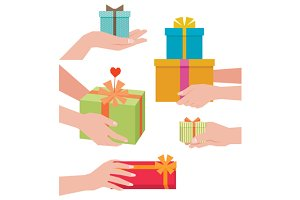 Hand giving a gift box