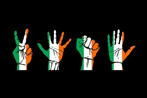 set of hands the flag of Ireland