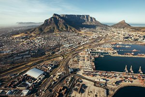 Aerial view of cape town harbor