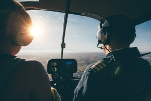 Two pilots in a helicopter