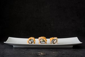 Sushi. Black background