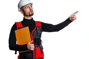 Builder holding folder