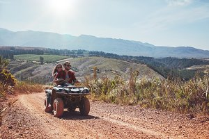Young couple enjoying off road