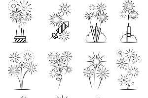 Firework celebration icons