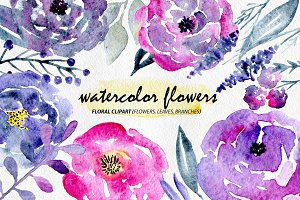 Violet & Purple Watercolor Flowers