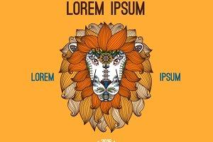 Lion head logo in boho style